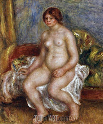 Nude Woman on Green Cushions, 1909 | Renoir | Painting Reproduction