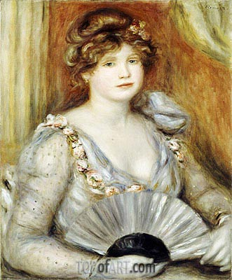Woman with a Fan, undated | Renoir | Painting Reproduction