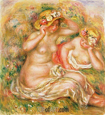 Two Nudes Wearing Hats, undated | Renoir | Painting Reproduction