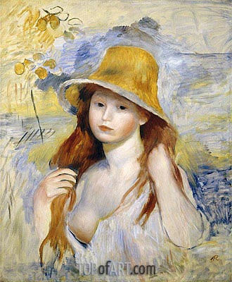 Young Girl with a Straw Hat, 1884 | Renoir| Painting Reproduction