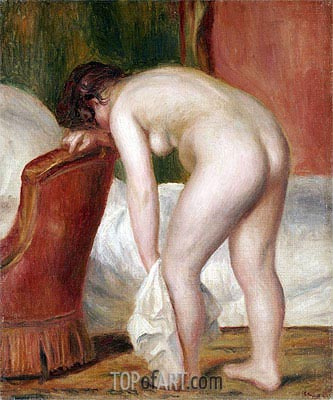 Female Nude Drying Herself, c.1909 | Renoir | Painting Reproduction