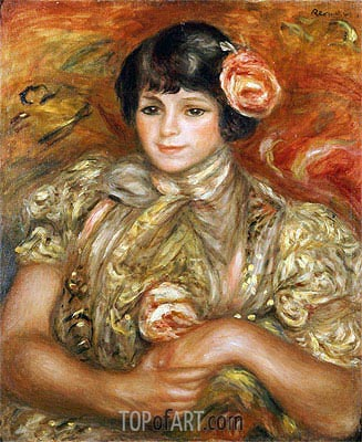 Woman with a Rose, 1900 | Renoir | Painting Reproduction