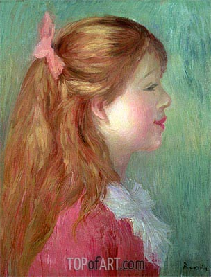 Young Girl with Long Hair in Profile, 1890 | Renoir| Painting Reproduction