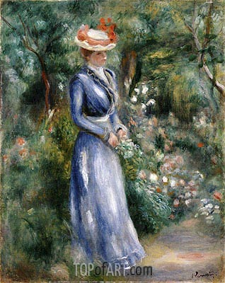 Woman in a Blue Dress Standing in the Garden at Saint-Cloud, undated | Renoir| Painting Reproduction