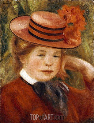 A Young Girl with a Red Hat, 1899 | Renoir| Painting Reproduction