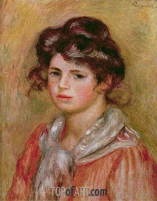 Young Girl with a White Handkerchief (Gabrielle), 1907 | Renoir | Painting Reproduction