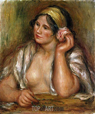 Gabrielle with Green Necklace, c.1905 | Renoir| Painting Reproduction