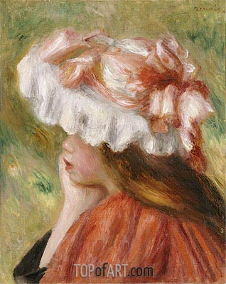 Young Girl in a Red Hat, undated | Renoir | Painting Reproduction