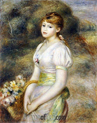 Young Girl with a Basket of Flowers, undated | Renoir| Painting Reproduction