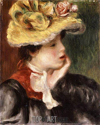 Head of a Girl with a Yellow Hat, undated | Renoir| Painting Reproduction