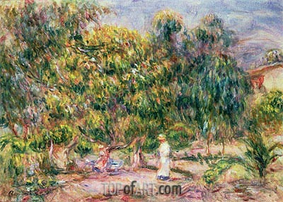 The Woman in White in the Garden of Les Colettes, 1915 | Renoir | Painting Reproduction