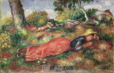 Young Girl Sleeping on the Grass, undated | Renoir | Painting Reproduction