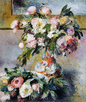 Peonies, 1878 | Renoir| Painting Reproduction