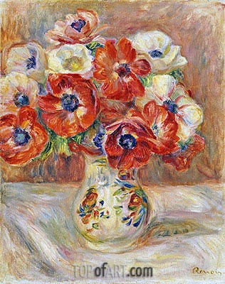 Still Life with Anemones, undated | Renoir | Painting Reproduction