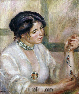 Woman with a Necklace, undated | Renoir| Painting Reproduction