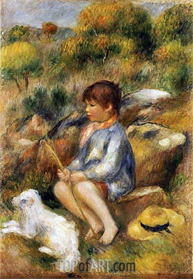 Young Boy by a Brook, 1890 | Renoir | Painting Reproduction