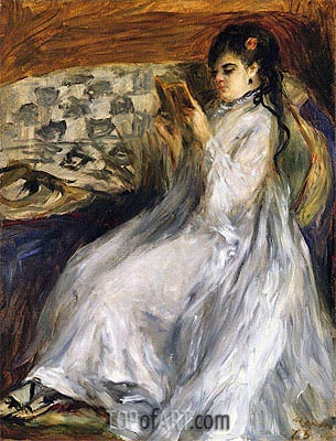 Woman in White Reading, 1873 | Renoir| Painting Reproduction