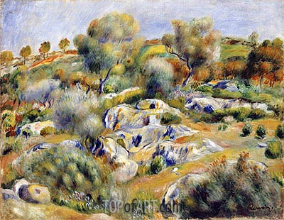 Brittany Landscape with Trees and Rocks, undated | Renoir| Painting Reproduction