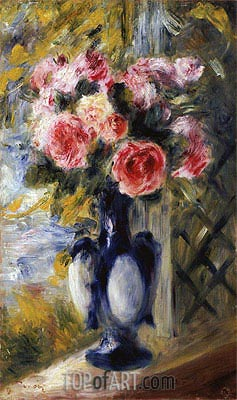 Roses in a Blue Vase, 1892 | Renoir | Painting Reproduction