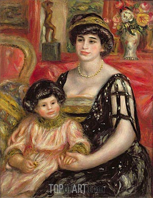 Madame Josse Bernheim-Jeune and her Son Henry, 1910 | Renoir | Painting Reproduction