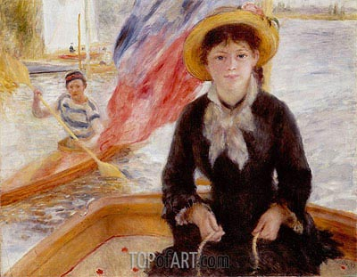 Woman in Boat with Canoeist, 1877 | Renoir | Painting Reproduction