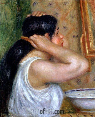 Girl Combing her Hair, c.1907/08 | Renoir| Painting Reproduction