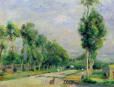 The Road to Versailles at Louveciennes, undated | Renoir | Painting Reproduction