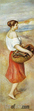 Girl with a Basket of Fish, c.1889 | Renoir| Gemälde Reproduktion