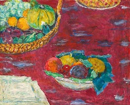 A Dish and a Basket of Fruit, 1944 by Pierre Bonnard | Painting Reproduction