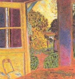 Door Opening onto the Garden, 1924 von Pierre Bonnard | Gemälde-Reproduktion