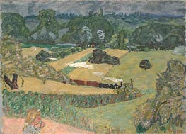 Train and Bardes (Landscape with a Goods Train) | Pierre Bonnard | outdated