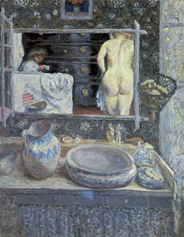 The Bathroom Mirror, 1908 by Pierre Bonnard | Painting Reproduction