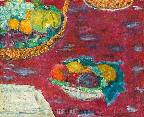 Pierre Bonnard | A Dish and a Basket of Fruit, 1944