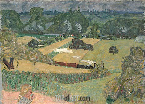 Pierre Bonnard | Train and Bardes (Landscape with a Goods Train), 1909