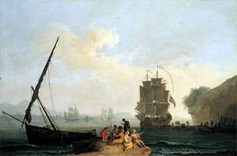 A Mediterranean Bay with a Merchantman Unloading, Seamen Playing Cards in the Foreground and a Port Beyond | Pierre Jacques Volaire | Painting Reproduction