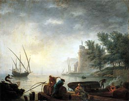 A Mediterranean Port by Moonlight with Fishermen Pulling in their Nets | Pierre Jacques Volaire | Painting Reproduction