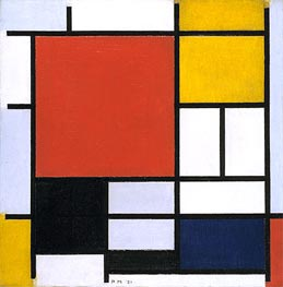 Composition with Large Red Plane, Yellow, Black, Gray and Blue, 1921 by Mondrian | Painting Reproduction