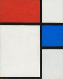 Composition No. II, with Red and Blue, 1929 by Mondrian | Painting Reproduction