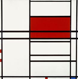 Composition of Red and White (Composition No. 4 with Red and Blue), 1938-42 by Mondrian | Painting Reproduction
