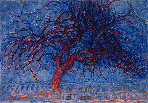Evening: The Red Tree, c.1908/10 | Mondrian| Painting Reproduction