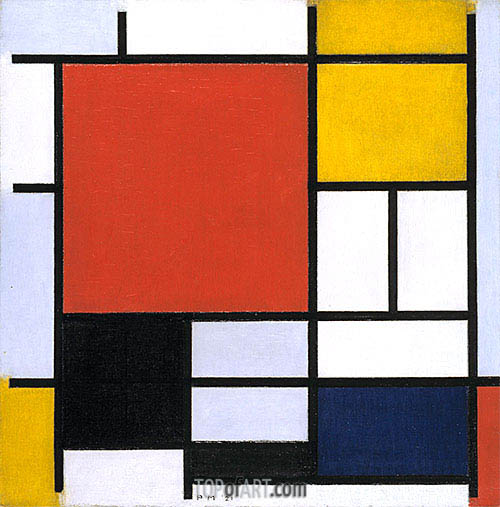 Composition with Large Red Plane, Yellow, Black, Gray and Blue, 1921 | Mondrian | Painting Reproduction