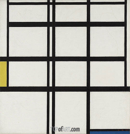 Composition in Yellow, Blue and White, I, 1937 | Mondrian | Painting Reproduction