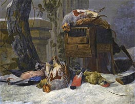 Still Life with Dead Game and Songbirds in the Snow, Undated by Pieter Boel | Painting Reproduction