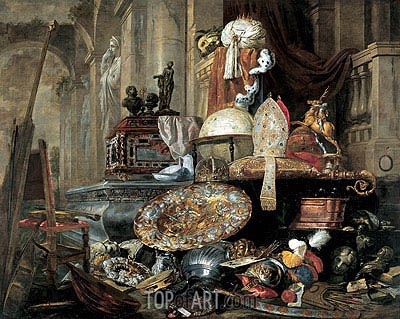Large Vanitas Still-Life (Allegory of the Vanities of the World), 1663 | Pieter Boel | Gemälde Reproduktion