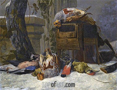 Still Life with Dead Game and Songbirds in the Snow,  | Pieter Boel | Gemälde Reproduktion