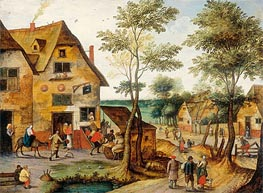 Landscape with the Holy Family Arriving at the Inn, Undated by Pieter Bruegel the Younger | Painting Reproduction