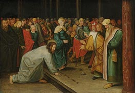 Christ and the Woman Taken in Adultery, c.1600 by Pieter Bruegel the Younger | Painting Reproduction