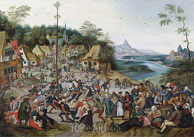 St George Kermis with the Dance Around the Maypole,  | Pieter Bruegel the Younger | Painting Reproduction