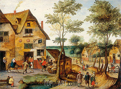 Landscape with the Holy Family Arriving at the Inn,  | Pieter Bruegel the Younger | Gemälde Reproduktion