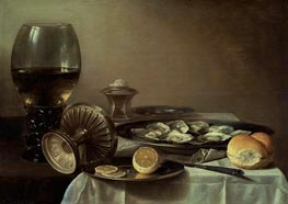 Still Life with Wine Goblet and Oysters, c.1635 von Pieter Claesz | Gemälde-Reproduktion